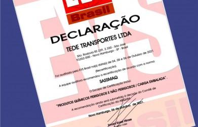 Transduarte recebe recertificação SASSMAQ