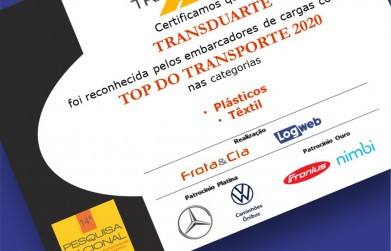 Transduarte recebe certificado Top do Transporte 2020